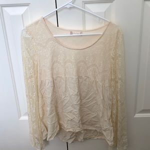 altar'd state cream lace bell sleeve blouse